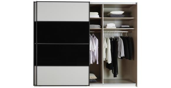 SCHWEBETÜRENSCHRANK in Schwarz, Weiß  - Schwarz/Weiß, Design, Glas/Holzwerkstoff (280/223/68cm) - Cantus
