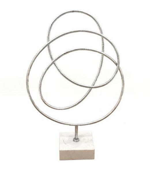 SKULPTUR - Silberfarben, Design, Stein/Metall (33/50/12cm) - Ambia Home
