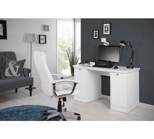 PISAĆI STOL - bijela/boje srebra, Lifestyle, drvni materijal/metal (136/75/63cm) - Carryhome