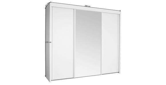 SCHWEBETÜRENSCHRANK in Weiß  - Weiß, KONVENTIONELL, Glas/Holzwerkstoff (280/235/65cm) - Cantus