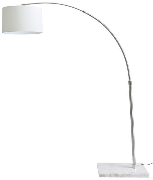 STOJACÍ LAMPA - bílá/šedá, Design, kov/textil (190/45/218cm) - Novel