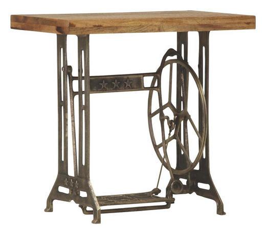 BEISTELLTISCH Mangoholz massiv rechteckig Braun, Dunkelbraun - Dunkelbraun/Braun, Design, Holz/Metall (76/46/73cm)