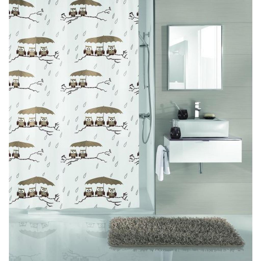 Image of Kleine Wolke Duschvorhang 180/200 cm , 5222 271 305 Eulen , Taupe , Textil , Tier , 180x200 cm , wasserabweisend , 003342030701