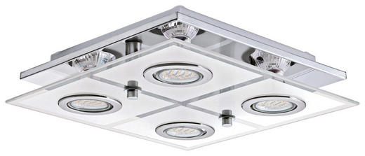 LED STROPNÍ SVÍTIDLO - barvy chromu, Konvenční, kov/umělá hmota (29/29/7cm) - NOVEL