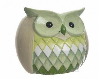 SOVA DEKORAČNÍ - zelená/žlutá, Basics, keramika (12.5/15/12cm)