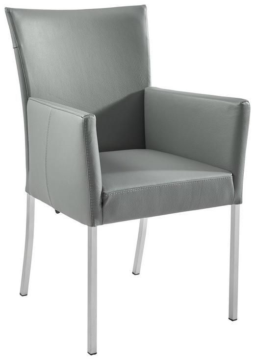 ARMLEHNSTUHL Echtleder Dunkelgrau, Edelstahlfarben - Edelstahlfarben/Dunkelgrau, Design, Leder/Metall (59/91/65cm) - Musterring