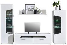 WOHNWAND Eichefarben, Weiß - Eichefarben/Silberfarben, Design, Glas/Holzwerkstoff (300,4/201/52cm) - Hom`in