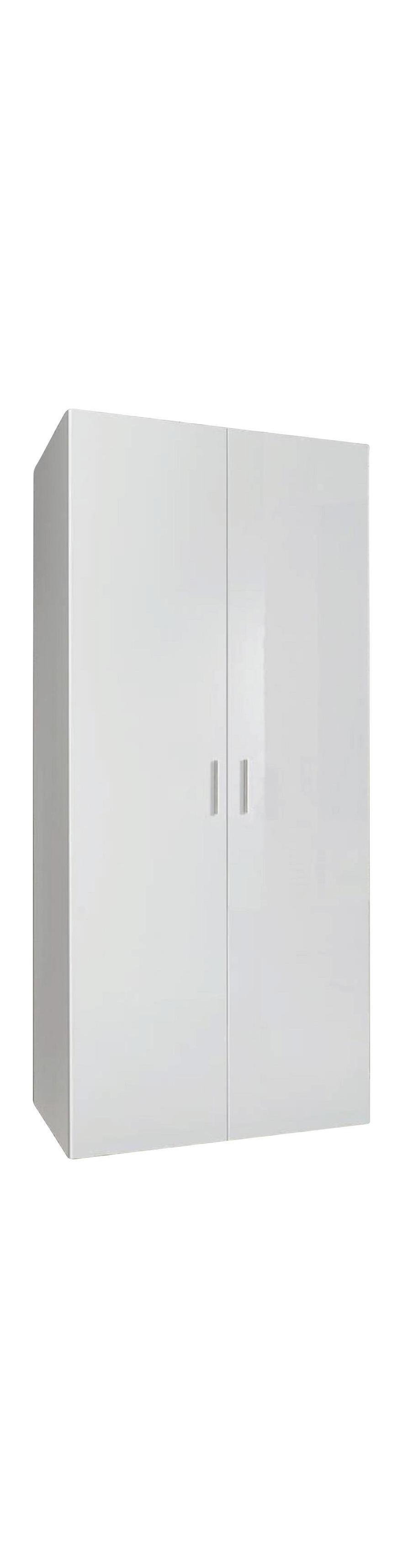 142c4cd1bd468d SCHRANK Hochglanz, lackiert Weiß - Chromfarben/Weiß, KONVENTIONELL,  Holzwerkstoff/Kunststoff (