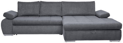 WOHNLANDSCHAFT in Textil Grau  - Chromfarben/Grau, Design, Kunststoff/Textil (294/173cm) - Carryhome