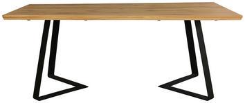 ESSTISCH Wildeiche massiv rechteckig Eichefarben - Eichefarben/Schwarz, KONVENTIONELL, Holz/Metall (200/100/76cm) - Hom`in