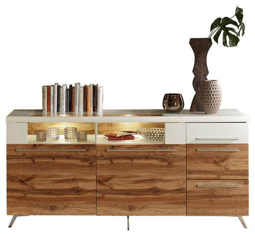 SIDEBOARD - Eichefarben/Silberfarben, Design, Glas/Holzwerkstoff (175/80/45cm) - Stylife