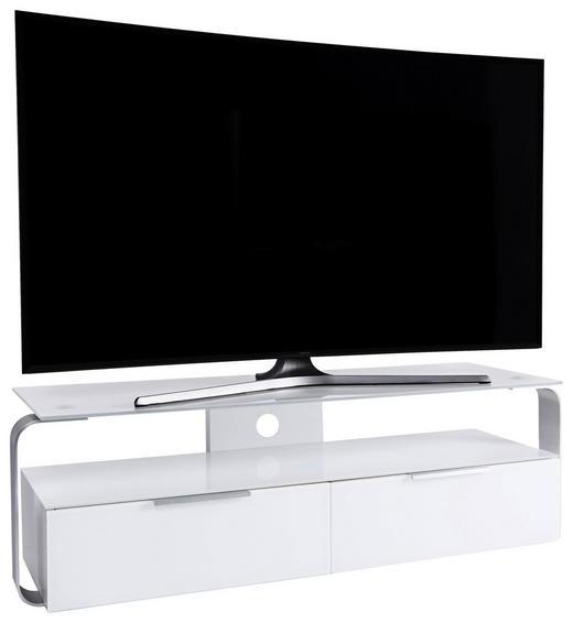 TV-ELEMENT 128/40/40 cm - Alufarben/Weiß, Design, Glas/Holzwerkstoff (128/40/40cm)