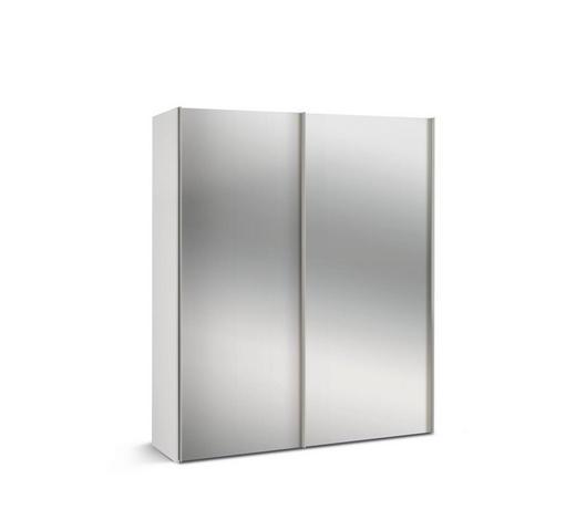 SCHWEBETÜRENSCHRANK 2-türig Weiß  - Alufarben/Weiß, KONVENTIONELL, Glas/Holzwerkstoff (175/216/48cm) - Hom`in
