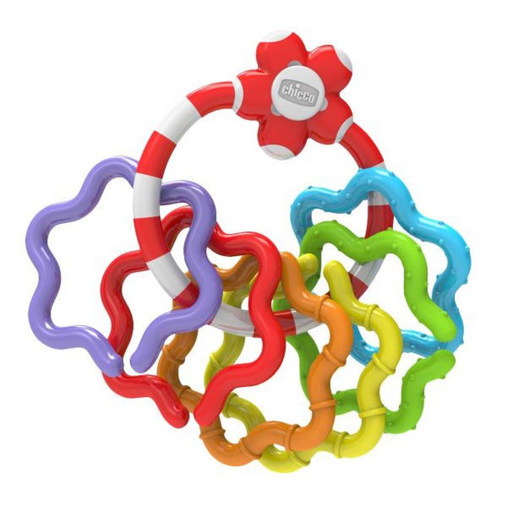 Greifring mit 6 weiteren verschlungenen Ringen in verschiedenen Farben von Chicco