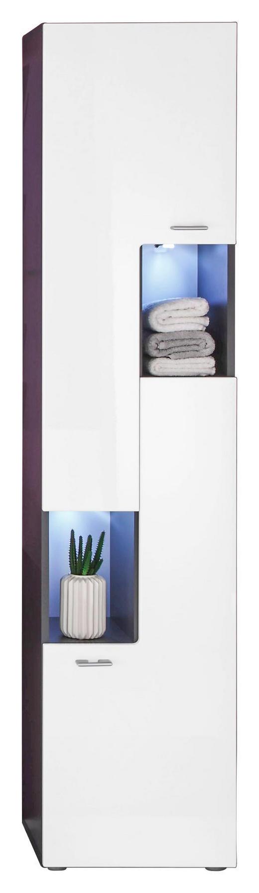 HOCHSCHRANK Weiß - Anthrazit/Graphitfarben, Design, Glas/Holzwerkstoff (40/182/30cm) - Carryhome