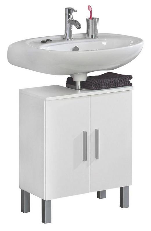WASCHBECKENUNTERSCHRANK Weiß - Chromfarben/Weiß, Design, Holzwerkstoff/Kunststoff (50/62/31cm) - XORA