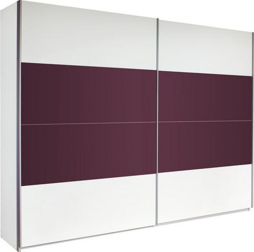 SCHWEBETÜRENSCHRANK 2-türig Brombeere, Weiß - Brombeere/Alufarben, Design, Glas/Holzwerkstoff (271/210/58cm) - Xora