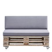 SOFA in Grau Holz, Textil - Schwarz/Grau, LIFESTYLE, Holz/Kunststoff (120/75/80cm) - CARRYHOME
