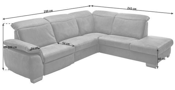 ECKSOFA Braun Mikrofaser  - Beige/Buchefarben, KONVENTIONELL, Textil (299/245cm) - Voleo