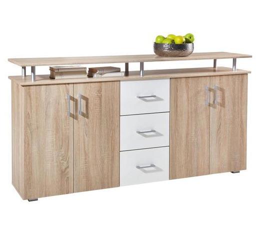 SIDEBOARD Weiß, Eichefarben  - Eichefarben/Silberfarben, Design, Holzwerkstoff/Kunststoff (180/90/40cm) - Boxxx