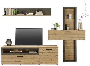 HYLLKOMBINATION - mörkgrå/granfärgad, Design, glas/träbaserade material (254,6/184,3/52cm) - Carryhome