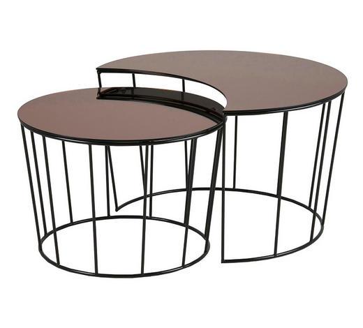 SATZTISCH in Metall, Glas 76/58/76/85/45/50 cm - Schwarz/Bronzefarben, Trend, Glas/Metall (76/58/76/85/45/50cm) - Ambia Home
