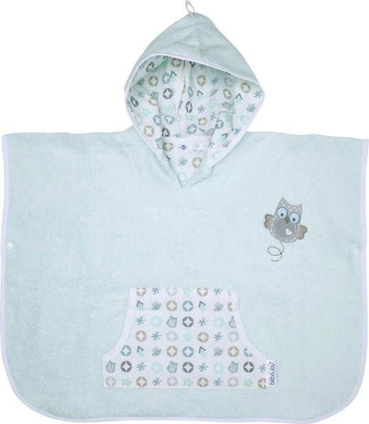 PONCHO - Weiß/Mintgrün, Textil (86/92) - Bebe Jou