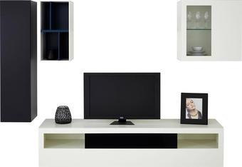 OBÝVACÍ STĚNA - bílá/petrolej, Design, textil/dřevěný materiál (281,8/222/52cm) - HÜLSTA - NOW
