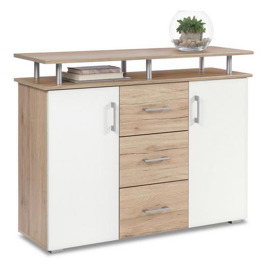 KOMMODE Eichefarben, Weiß - Eichefarben/Silberfarben, KONVENTIONELL, Holzwerkstoff/Kunststoff (116/90/38cm) - Boxxx