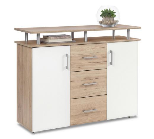 KOMMODE Weiß, Eichefarben - Eichefarben/Silberfarben, KONVENTIONELL, Holzwerkstoff/Kunststoff (116/90/38cm) - Boxxx
