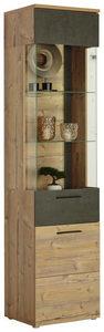 VITRINSKÅP - mörkgrå/granfärgad, Design, glas/träbaserade material (50,2/204/41,3cm) - Carryhome