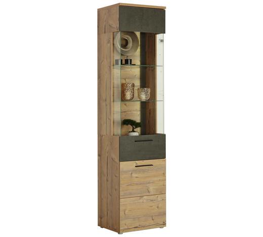 VITRINE Fichtefarben, Dunkelgrau  - Fichtefarben/Dunkelgrau, Design, Glas/Holzwerkstoff (50,2/204/41,3cm) - Carryhome