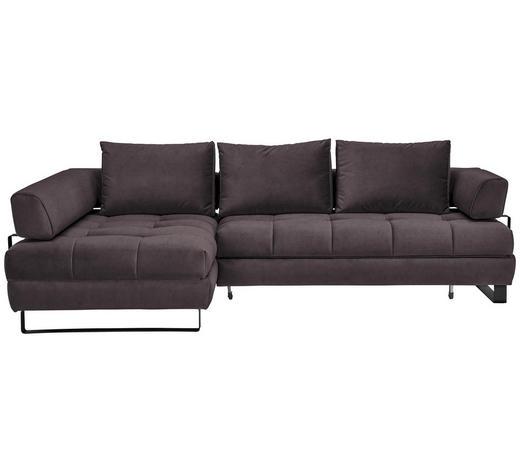WOHNLANDSCHAFT in Textil Anthrazit  - Anthrazit/Schwarz, Design, Textil/Metall (173/272cm) - Stylife