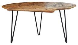 COUCHTISCH Mangoholz massiv rund Braun  - Schwarz/Braun, Trend, Holz/Metall (90/90/44cm) - Carryhome