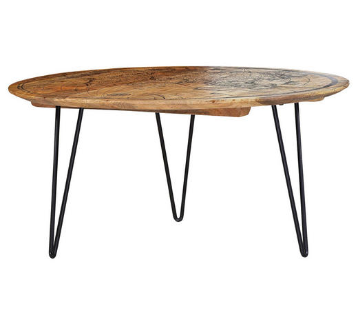 COUCHTISCH Mangoholz massiv rund Braun  - Schwarz/Braun, Trend, Holz/Metall (90/44cm) - Carryhome