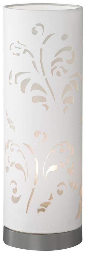 BORDSLAMPA - vit/kromfärg, Klassisk, metall/plast (35cm)