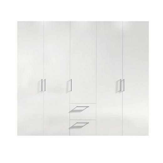 DREHTÜRENSCHRANK 5  -türig Weiß - Alufarben/Weiß, KONVENTIONELL, Holzwerkstoff/Kunststoff (250/216/58cm) - Hom`in