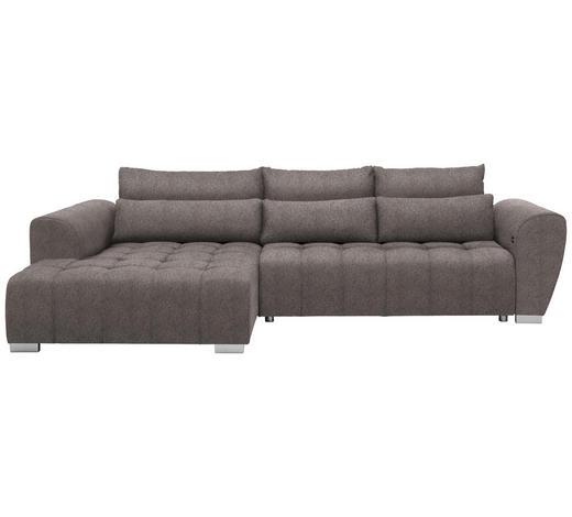 WOHNLANDSCHAFT in Textil Hellbraun  - Hellbraun/Silberfarben, MODERN, Kunststoff/Textil (218/304cm) - Carryhome