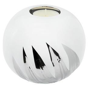 VÄRMELJUSHÅLLARE - vit/silver, Design, keramik (12,5/10cm) - Ambia Home