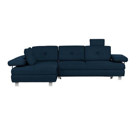 WOHNLANDSCHAFT in Textil Dunkelblau - Chromfarben/Dunkelblau, Design, Textil/Metall (190/288cm) - Hom`in