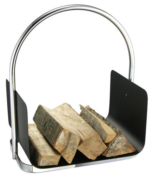 KAMINHOLZTASCHE Metall - Edelstahlfarben/Schwarz, Design, Metall (40,5/30/47cm)