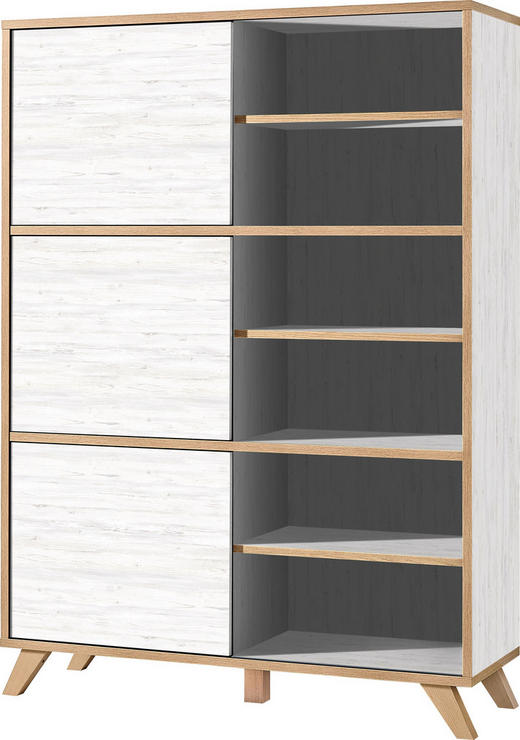 REGAL Weiß, Eichefarben - Eichefarben/Weiß, Design, Holzwerkstoff (120/172/40cm) - Xora
