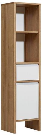 SREDNJE VISOKA OMARA 33/136/28 cm - bela/hrast, Moderno, leseni material (33/136/28cm) - Xora