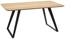 ESSTISCH Wildeiche massiv rechteckig Schwarz, Eichefarben  - Eichefarben/Schwarz, Design, Holz/Metall (160/90/76cm) - Voleo
