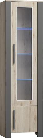 VITRÍNA - barvy dubu/tmavě šedá, Konvenční, dřevěný materiál/umělá hmota (56/200/40cm) - CANTUS