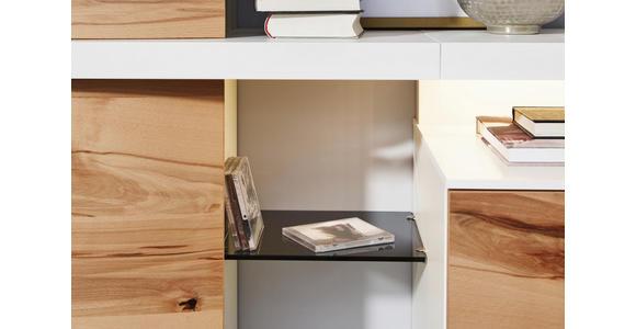 WOHNWAND in Buchefarben, Weiß - Edelstahlfarben/Buchefarben, Design, Glas/Holz (309/208/55,7cm) - Dieter Knoll