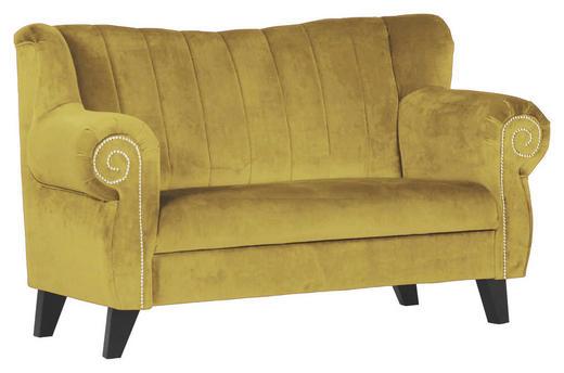 SOFA in Gelb Textil - Gelb/Braun, Design, Holz/Textil (168/96/75cm)