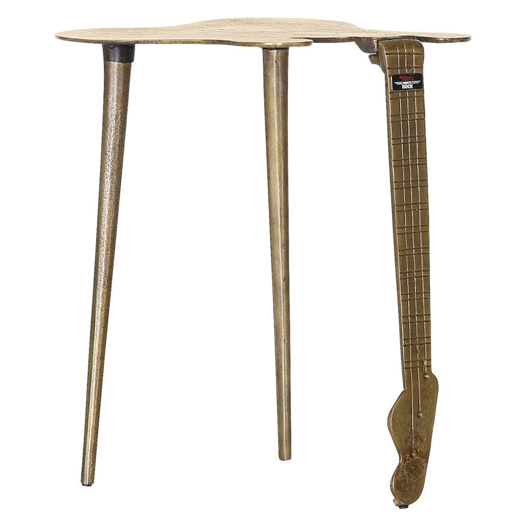 Image of Carryhome Couchtisch in metall 31/45/45 cm , Tabaluga Meets Rock , Messingfarben , 45x45 cm , antik , 002362037607