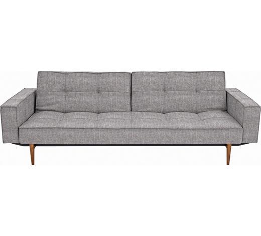 ROZKLÁDACÍ POHOVKA, šedá, textilie, - šedá/tmavě hnědá, Design, dřevo/textilie (242/79/115cm) - Innovation