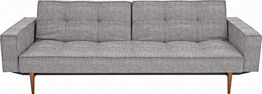 SCHLAFSOFA Grau - Ulmefarben/Dunkelbraun, Design, Holz/Textil (242/79/115cm) - Innovation